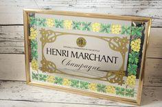 Vintage Henri Marchant Mirror Gold Framed Champagne Bar Advertising Graphics…