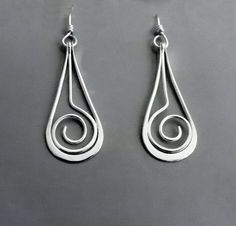Sterling Dangle Earrings SPIRAL SWING Handcrafted Forged Silver Earrings