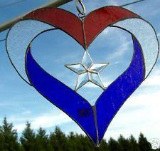 Heart stained glass  & beveled star suncatcher panel