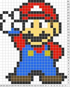 Tricksy Knitter by Megan Goodacre: Mario - crochet granny squares for each colored square Mario Crochet, Pixel Crochet, Crochet Cross, Crochet Chart, Crochet Granny, Cross Stitching, Cross Stitch Embroidery, Cross Stitch Patterns, Quilt Patterns