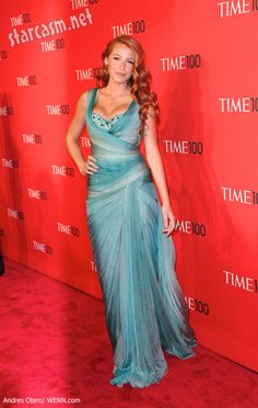 Blake Lively red hair and teal mermaid dress at the 2011 Time 100 gala event.