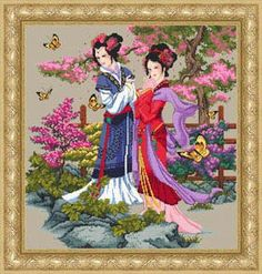 Geisha Cross Stitch Patterns- This would go great in my sitting room!