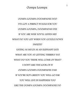 Oompa loompa song: