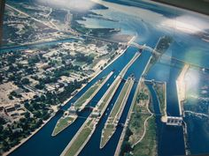 """Sault Ste Marie, MI  This is a BEAUTIFUL view of """"the locks"""" separating MI and Canada. I been through there several times on my Uncle's tug boat! Never seen it from this view before. Kinda cool!"""
