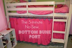 The 5-Minute, No-Sew Bottom Bunk Fort a twin flat sheet, curtain rings with clips, and a tension rod.  i could paint a design on it