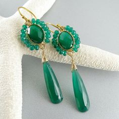 Green Onyx Gold Filled Earrings  Dripping Green by SurfAndSand, $115.00