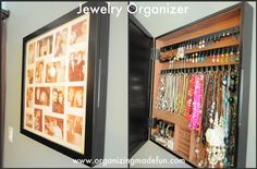 Jewelry Organizer :: OrganizingMadeFun.com-- I like this idea for the shop but just use the glass so it is see through and maybe add a locking mechanism.