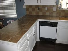Tile Counter Top With Wood Trim