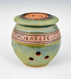 Handmade Pottery Banded Garlic Holder in Green