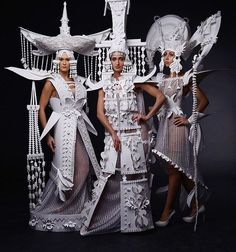 "From the HF archives: Russian paper-cut artist Asya Kozina recently created an ornate array of white wedding dresses inspired by Mongolian folkloric fashion designs. Though they resemble haute couture, the sculptural outfits are made entirely from paper. The St. Petersburg-based artist described the traditional Mongolian garments as ""futuristic."" Her versions exaggerate their shapes and emphasize their geometric structure by removing the color."