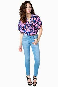 A'GACI Bright Blossom Bubble Top - Blouses