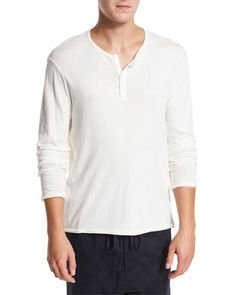 Raw-Edge Henley T-Shirt, White