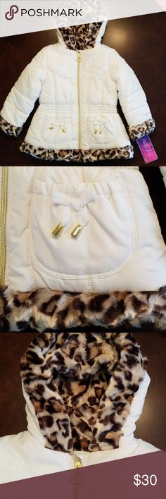 Gorgeous white & leopard print coat w/ gold accent Gorgeous NWT Girls size (5/6) Pistachio brand vanilla white coat with leopard pattern faux fur trim around the bottom, cuffs and inside the hood. Inside has super soft white fleece lining, inside of arms is smooth polyester so it's easier to put on. 2 front pockets with bows and gold accents and gold zipper with gold heart zipper pull. Pistachio Jackets & Coats