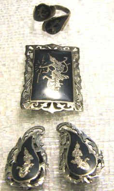 Vintage Siam Sterling Silver Nielloware Set by JIJCollectibles