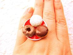 Kawaii Cute Japanese Ring Donuts Red Plate by SouZouCreations, $12.50