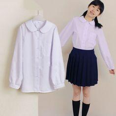 Haru white blouse (wearing long sleeve instead of short so I don't freeze!)  Japanese JK School Uniform Lolita Girls Cosplay Costume Long Sleeve White Blouse | eBay