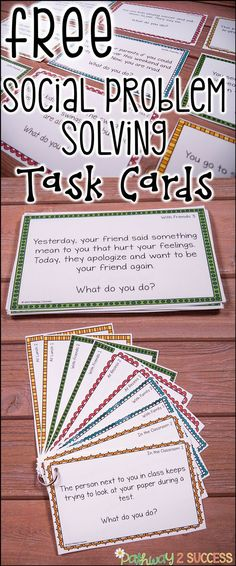 "Social Problem Solving Task Cards.    ""Use these social scenarios and situations task cards to help kids learn how to solve real problems! These are ideal for kids who struggle with making good decisions or get ""stuck"" in their thinking. So helpful for kids with autism, ADHD, and other social challenges.""    ""These are a set of 10 free task cards that highlight social scenarios and situations that kids can discuss and identify how they would solve each situation. The cards are organized into…"