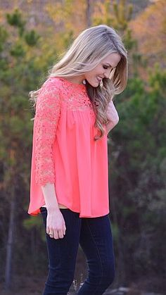 ShopBlueDoor.com: Nothing says spring like effortless silhouettes and girly lace! $44