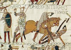 This section of the Bayeux Tapestry (which isn't really a tapestry) supposedly shows King Harold (of the English) trying to pull an arrow out of his eye. Whether this really is how Harold died isn't definitively known, but we do know that Harold was killed, the English lost the Battle of Hastings that day, and William the Bastard of Normandy became William I -- the Conqueror -- of England. What a day that must have been!