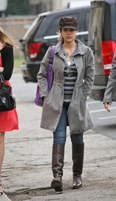 Jessica Alba wearing Gerard Darel Midday Midnight Saint Germain Crazy Bag, Park Vogel Cashmere Henley in Graniteindigo, LA Made Grey Full Length Coat and Juicy Couture Cardiff Boots in Chocolate.