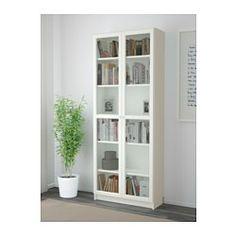 IKEA - BILLY / OXBERG, Kirjahylly, valkoinen, 80x202x28 cm, , Siirrettävien hyllylevyjen ansiosta hyllyvälejä voi säätää tarpeen mukaan.Säädettävien saranoiden ansiosta ovia voi säätää korkeus- ja sivusuunnassa.Vitriiniovien takana tavarat ovat näkyvillä, mutta suojassa pölyltä.