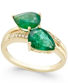 Emerald (4 ct. t.w.) and Diamond Accent Statement Ring in 14k Gold