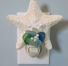 Beach Decor White Starfish Night Light w Sea Glass -  Nautical Decor Shell Nite Lite