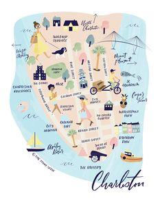 The Charleston Collection - Map Art Print. Travel and map illustration Charleston Sc Map, Charleston South Carolina, Rainbow Row Charleston, Charleston Sc Things To Do, Folly Beach South Carolina, South Carolina Vacation, Travel Gifts, Travel Stuff, Illustrations