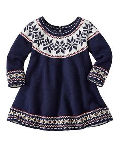 Traditional Nordic style patterning sings on this supersoft sweaterknit dress. So sweet and cozy with an extra full twirl skirt and easy slipover shape. It's sure to be the star of family photos for the holiday season. Baby Clothes Patterns, Crochet Baby Clothes, Baby Kids Clothes, Clothing Patterns, Sewing Patterns, Toddler Dress, Baby Dress, Knit World, Matching Pjs