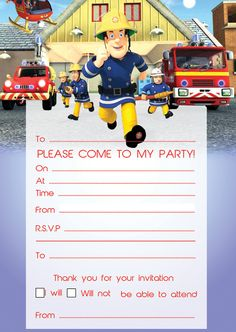 20 Fireman Sam Birthday Party Invites - Toppers & Invites