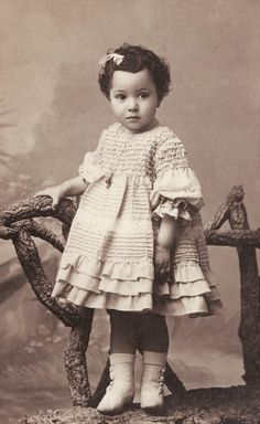 +~+~ Antique Photograph ~+~+  Ruffled Dressed Girl