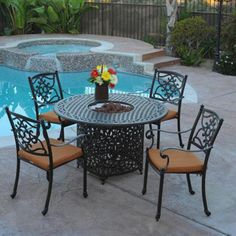 Meadow Decor Kingston Outdoor Firepit Dining Set - Dining Patio Sets at Patio Furniture USA