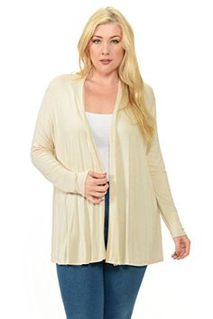 d5566214f8e70 Pastel by Vivienne Womens Long Sleeve Jersey Plus Size Cardigan XXLarge  Cream    Click image