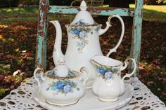 Royal Albert, moonlight rose:  Coffee or teapot, with creamer and sugar bowl