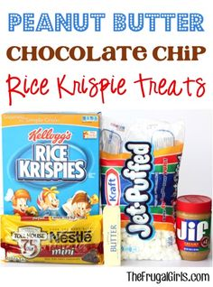 Peanut Butter Chocolate Chip Rice Krispie Treats Recipe ~ from TheFrugalG ~ such a yummy kid approved twist on your dessert! Rice Krispy Treats Recipe, Rice Crispy Treats, Krispie Treats, Rice Krispies, Cookie Desserts, No Bake Desserts, Delicious Desserts, Dessert Recipes, Summer Desserts
