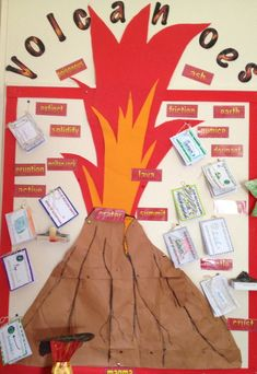 Volcanoes display Teaching Displays, Class Displays, School Displays, Library Displays, Classroom Displays, Teaching Tools, Teaching Kids, Student Teaching, Volcano Science Fair Project