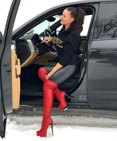Very sexy. Thigh High Boots, High Heel Boots, Heeled Boots, Shoe Boots, Sexy High Heels, Leather Tights, Sexy Stiefel, Red Boots, Fashion Boots