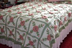 Floral Wild Rose Crocheted Afghan  King Size  Made by sherryann325, $335.00