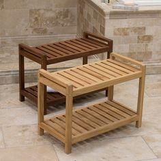 Belham Living Teak Shower Bench - VFS-GO25HD Wet Room Bathroom, Bathroom Bench, Relaxing Bathroom, Wood Shower Bench, Teak Shower Stool, Bathtub Bench, Wood Bathtub, Bath Stool, Shower Seat