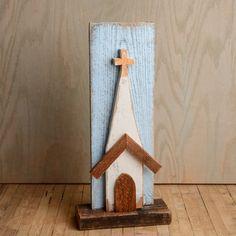 Reclaimed Wood Standing Folk Art Church