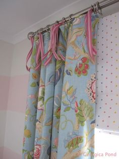 GEORGICA POND INTERIORS - our home, Poppy's bedroom, pink and white striped walls, floral bedhead