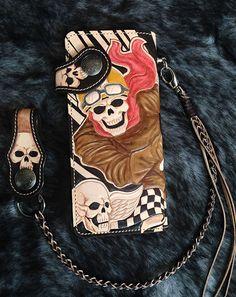 Racing Skull Rider biker men Long wallet multi-color genuine leather motorcycle