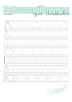 7 verschiedene Blätter Schwungübungen für Kinder zum Ausdrucken, natürlich kostenlos und für alle nutzbar. Viel Spaß dabei!
