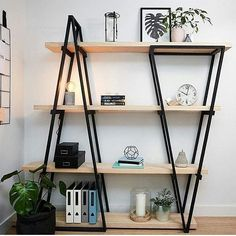 2018 Bookshelves diy, Bookshelves in bedroom, Bookshelves in living room, Booksh. - 49 Amazing Bookshelves Diy Ideas - Home Decor Industrial Bookshelf, Vintage Industrial Furniture, Metal Furniture, Home Furniture, Furniture Design, Bookshelf Diy, Modern Industrial, Bookshelf Styling, Modular Furniture