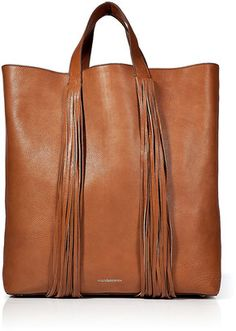 Sac Shopper Frangé en Cuir