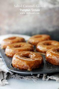 Salted Caramel-Glazed Pumpkin Donuts - Baked Pumpkin Donuts dipped in Salted Caramel Sauce