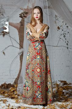 Russian style. Dress made from Russian shawls called Secret of Heart.