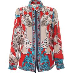 Versace Collection Stars and Baroque Silk Blouse (965 BRL) ❤ liked on Polyvore featuring tops, blouses, versace, star print top, placket shirt, star print shirt and silk shirt
