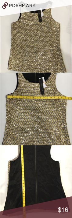 Cynthia Steffe Occassion top sequins Brand new with tags. Bought for myself but never got around to to wearing it. Gold Sequins are a shiny material and silver are more of traditional sequins. Let me know if you have any questions. Size is a 2 but am listing it as a small. Cynthia Steffe Tops