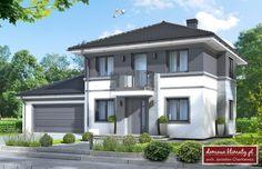 House design Kastor II G2 NF40, wizualizacja 1 Contemporary Style Homes, Contemporary House Plans, Facade Design, Exterior Design, Plans Architecture, Bungalow House Design, Exterior House Colors, Facade House, Home Design Plans